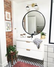Cozy bathroom update adapting brick wall accents showing charm and friendly finish Image 5
