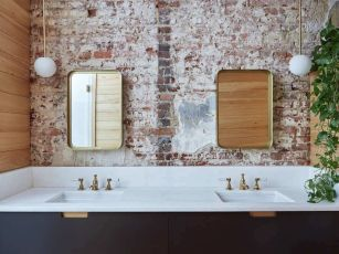 Cozy bathroom update adapting brick wall accents showing charm and friendly finish Image 6