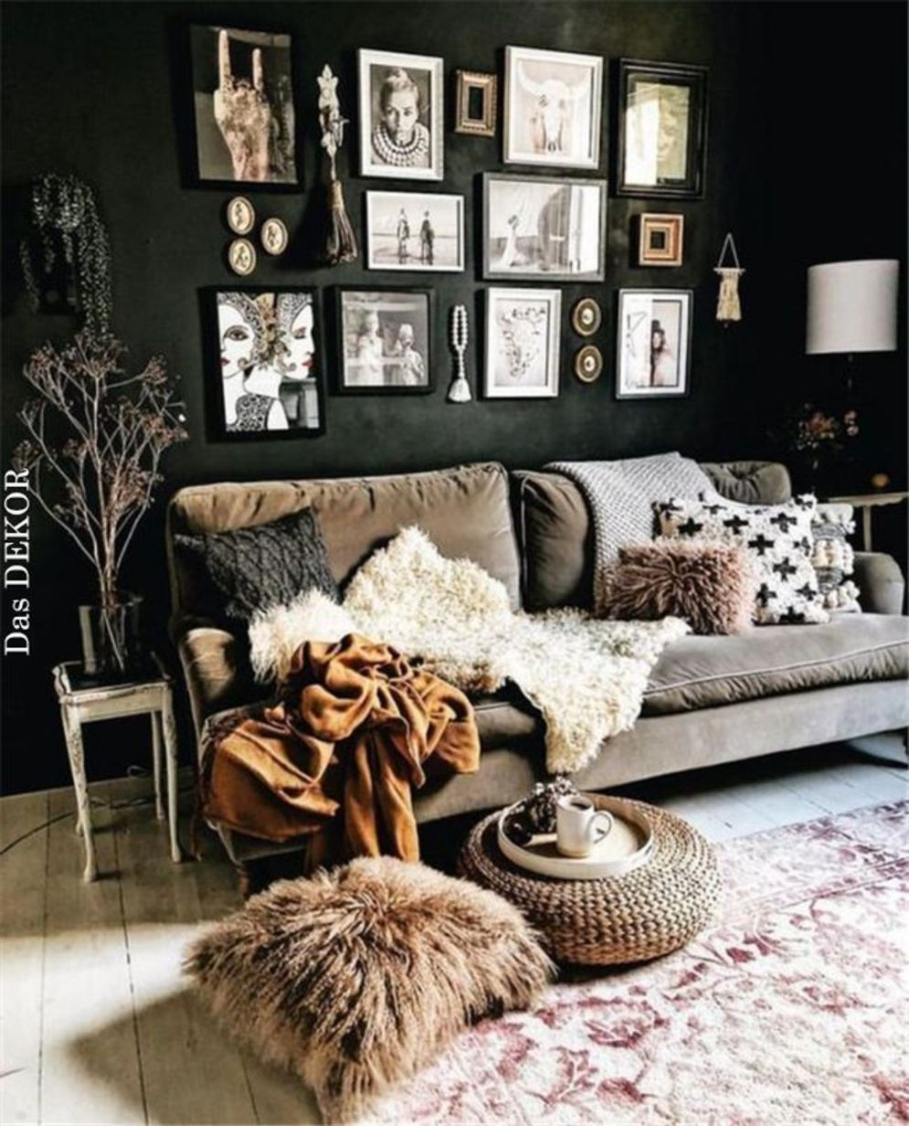 Expressive interior display in multilayering textures and colors showing artsy interior schemes with retro and vintage accents Image 6