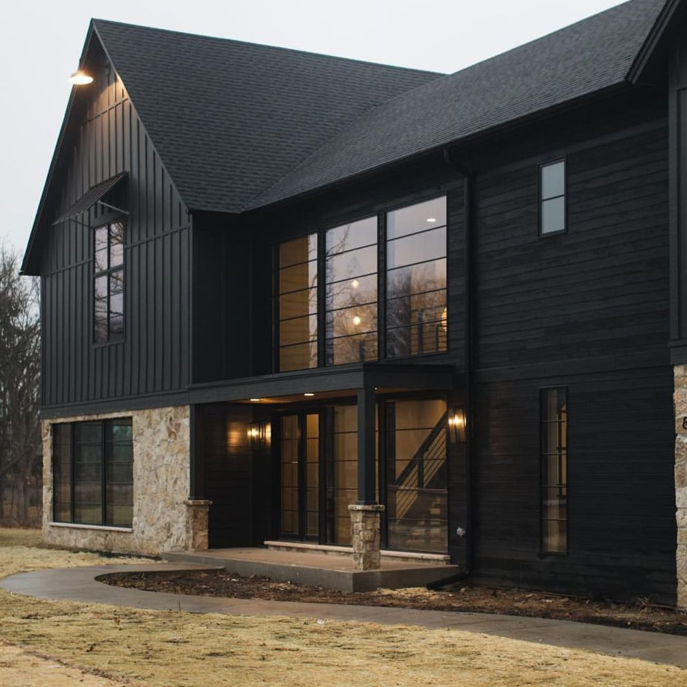 Modern house with new farmhouse exterior design pulling out country charm and warm welcoming display Image 33