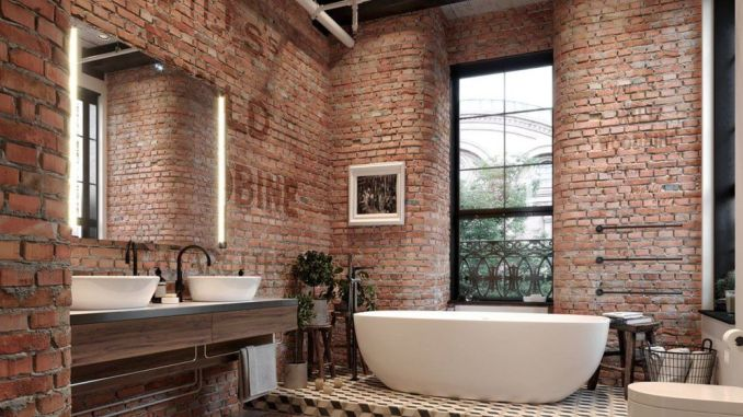 Modern rustic bathroom styles showing amazing viewpoint of brick wall decoration Image 34