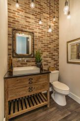 Modern rustic bathroom styles showing amazing viewpoint of brick wall decoration Image 35
