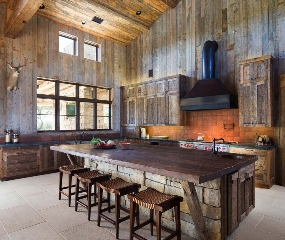 Warm and friendly cabin kitchen displaying rustic interior styles providing ideal space for a perfect retreat Image 28
