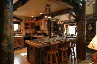 Warm and friendly cabin kitchen displaying rustic interior styles providing ideal space for a perfect retreat Image 38
