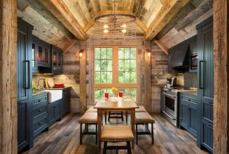 Warm and friendly cabin kitchen displaying rustic interior styles providing ideal space for a perfect retreat Image 40