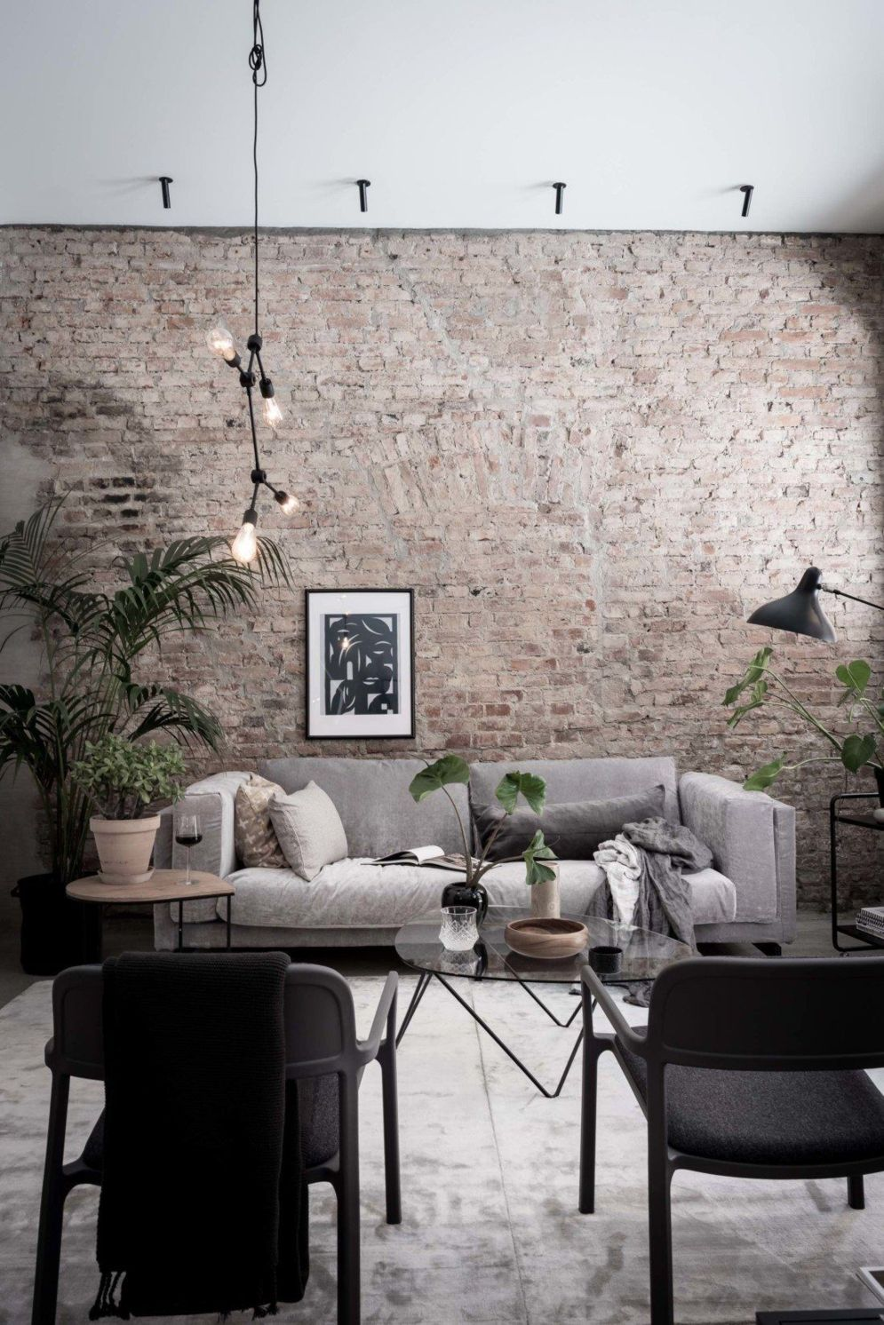 Wonderful interior statement brick wall improving interior display with modern rustic combination Image 39