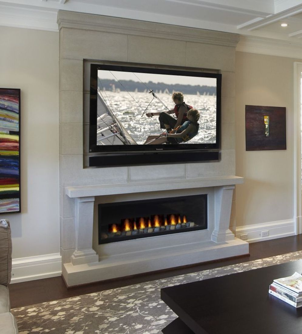Efficient living room decoration giving exotic combination of gas burning fireplace and TV wall Image 22
