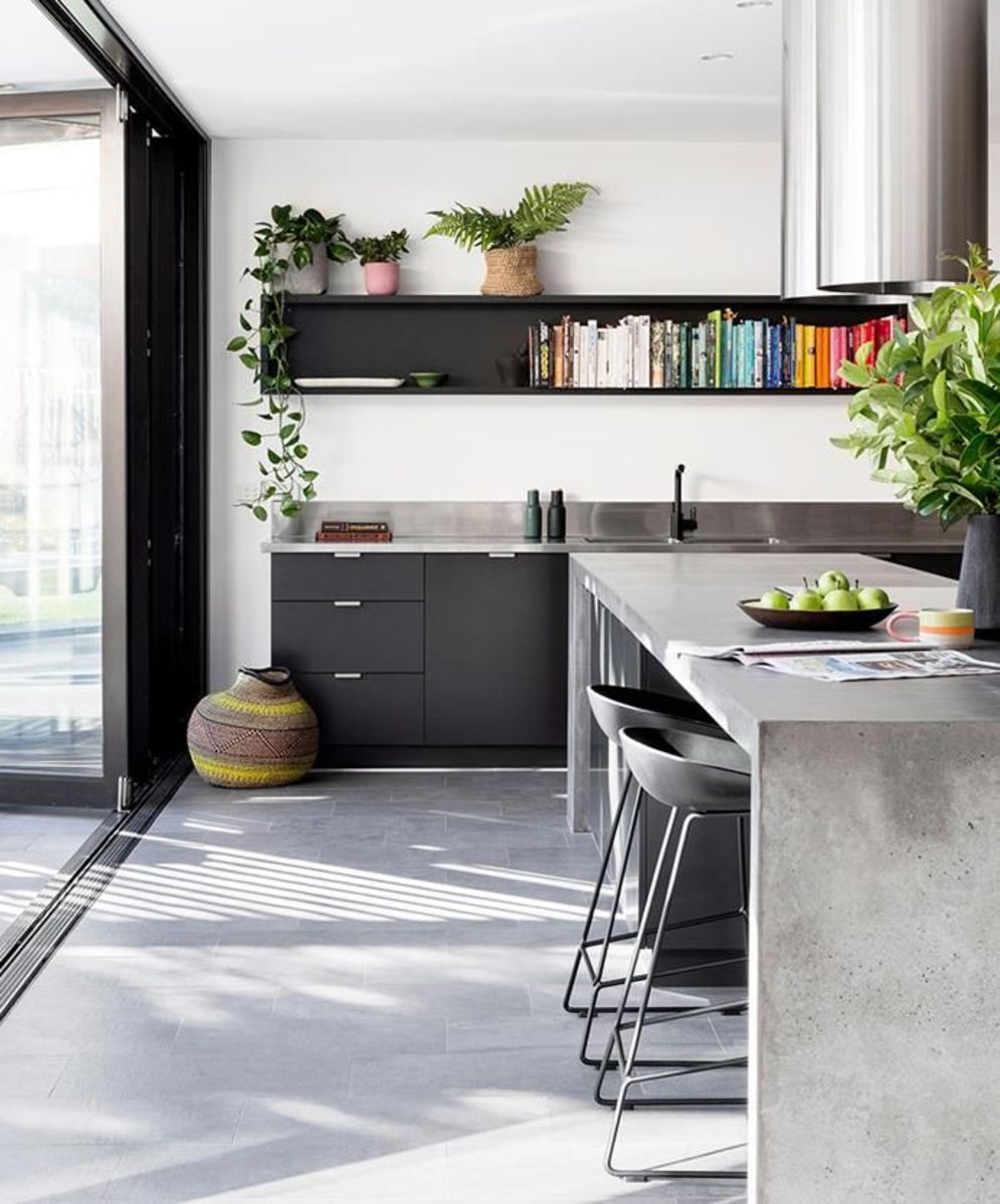 Modern kitchen updates using efficient concrete benchtops to show sturdier interior display Image 30