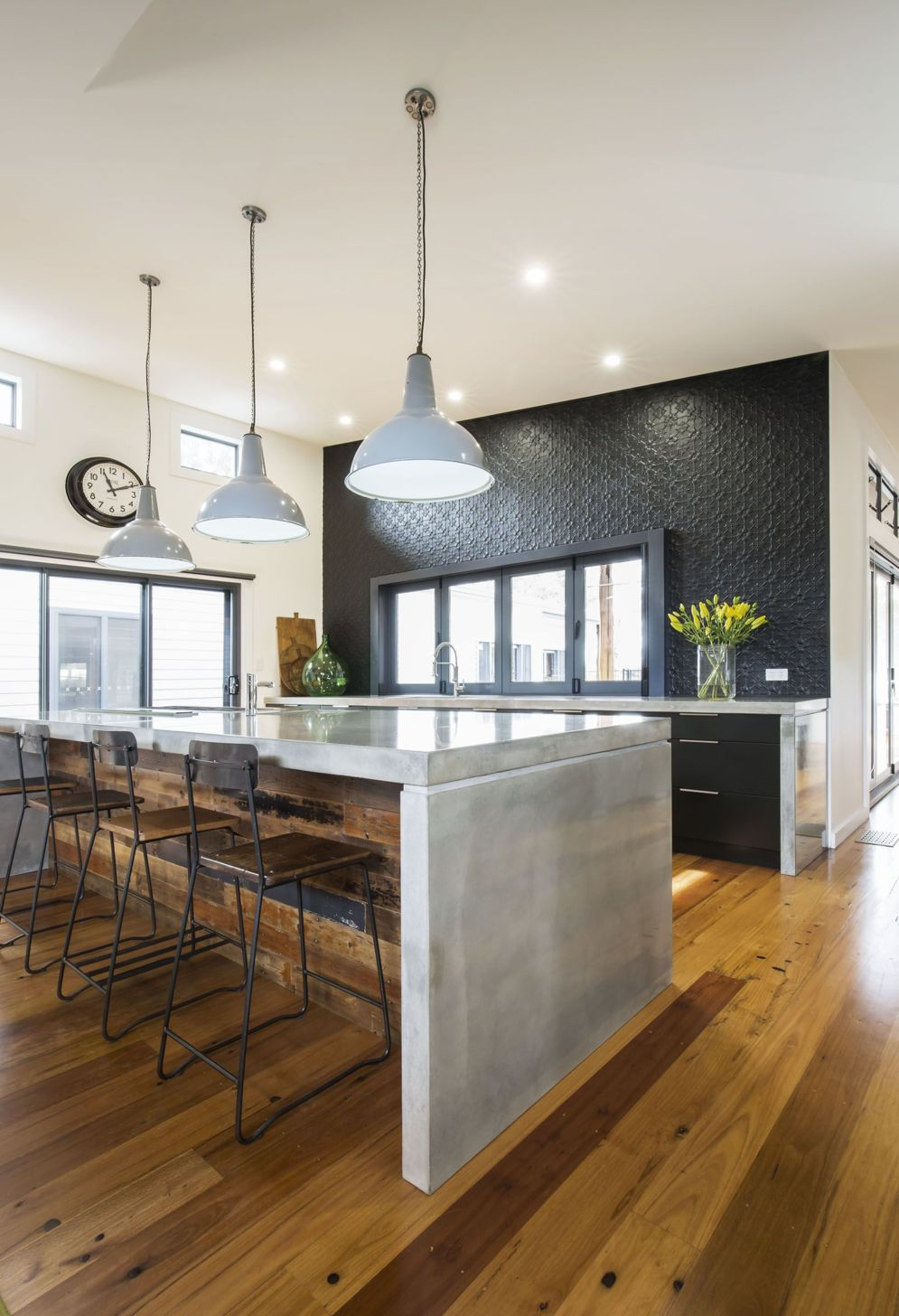 Modern kitchen updates using efficient concrete benchtops to show sturdier interior display Image 35