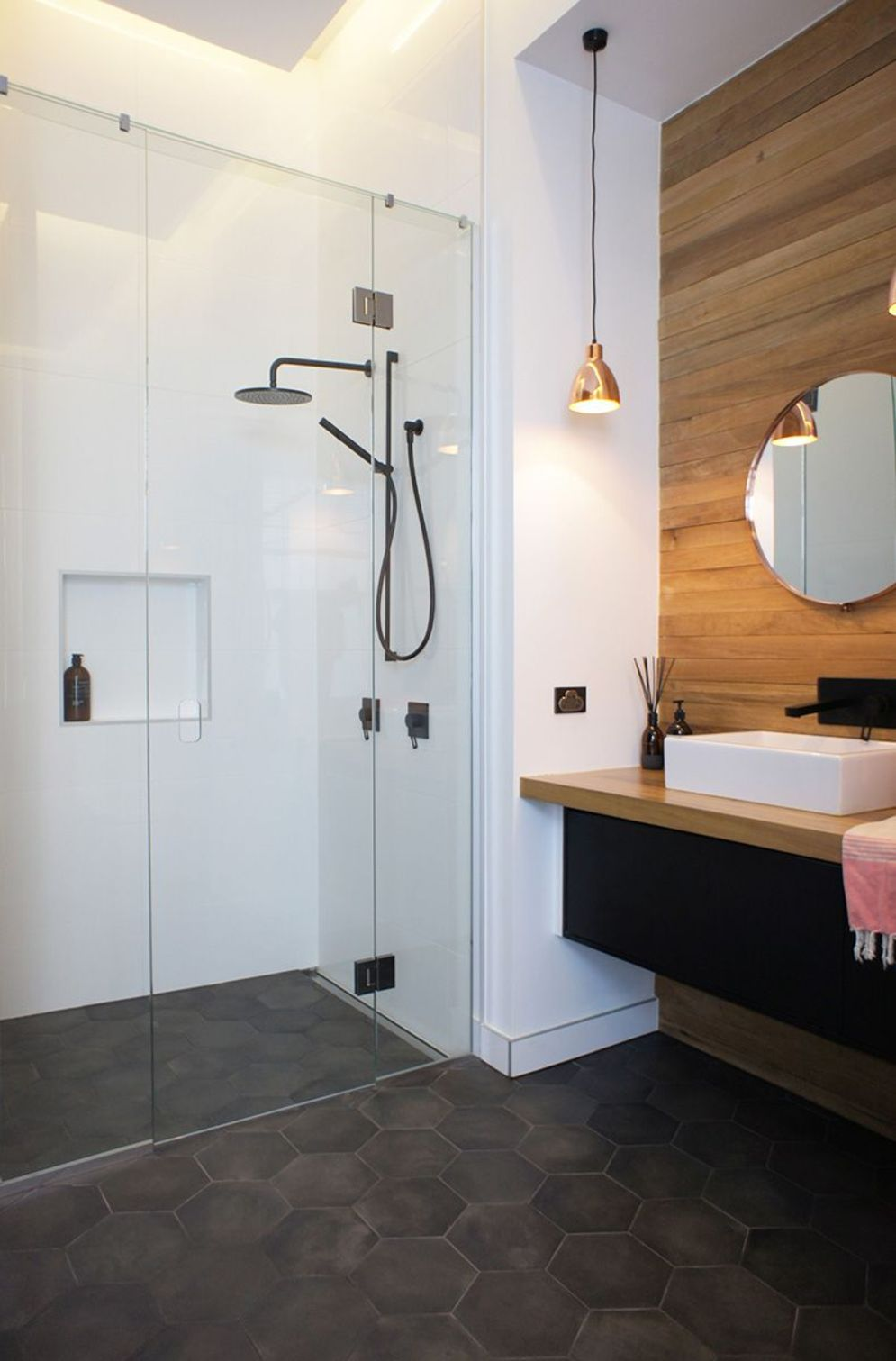 Most savvy bathroom designs with elegant wood finish to give more natural feel Image 1