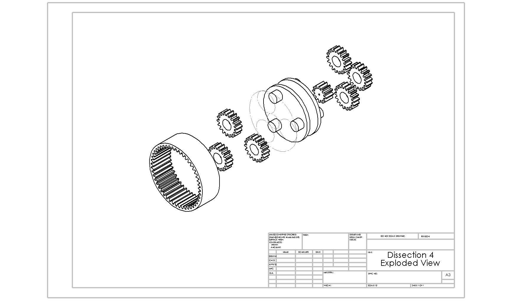 hight resolution of planetary gear train exploded view
