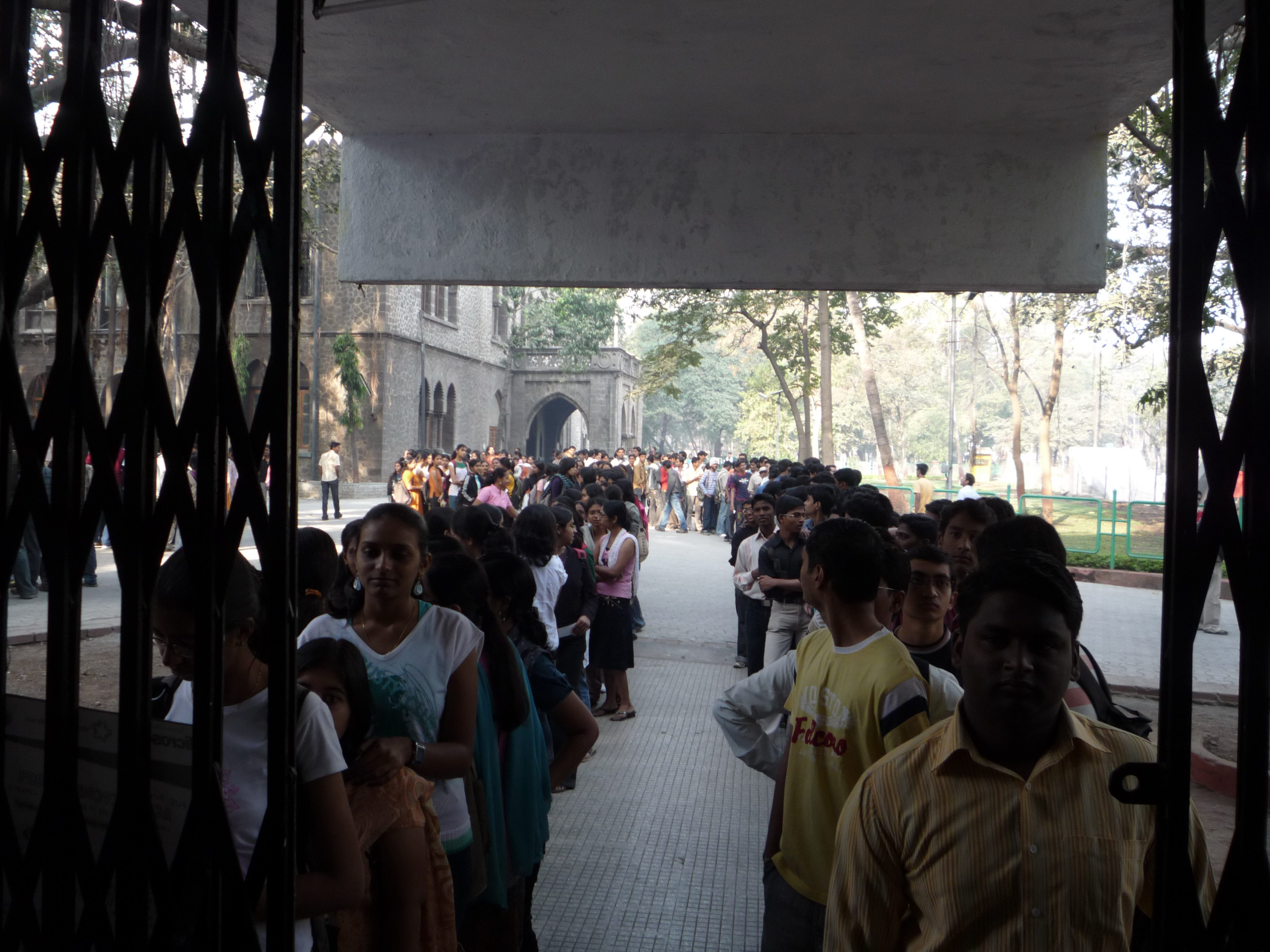 Students lined up at COEP auditorium