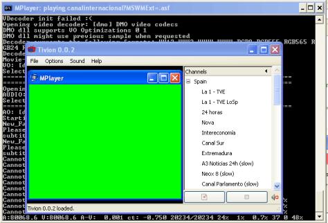 Ejecución de tivion-0.0.2 en Windows XP