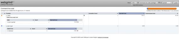 Traza de depuración de phpinfo() con Webgrind