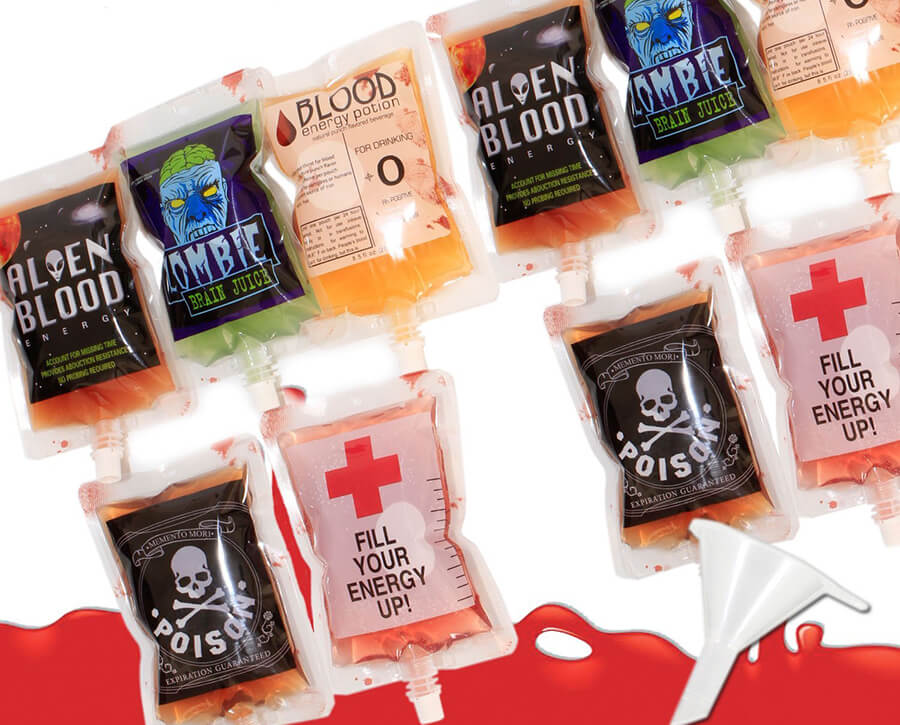 Blood Bags for Halloween Drinks