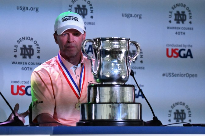 Steve Stricker in his championship press conference