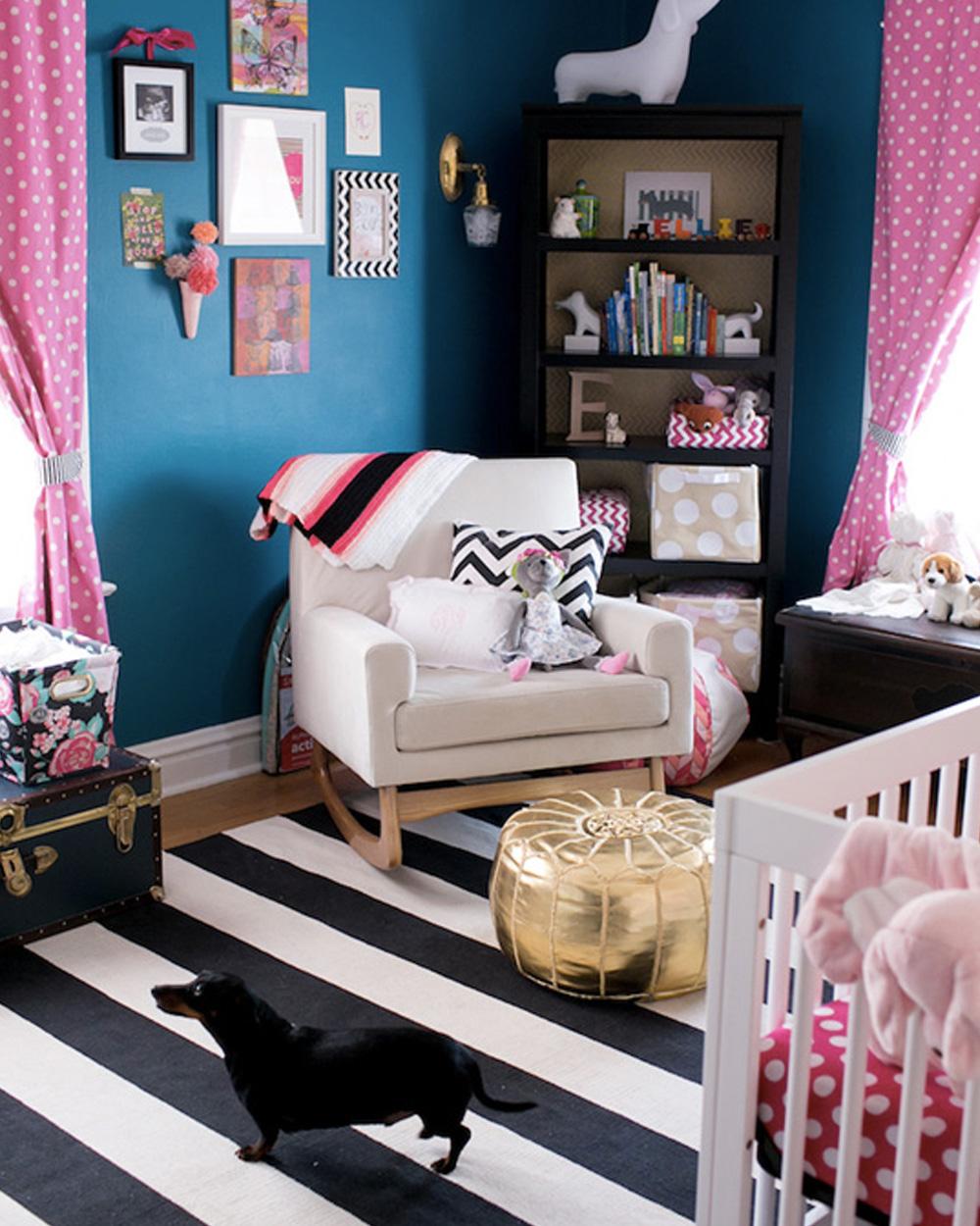 jolie chambre de fille en bleu et rose