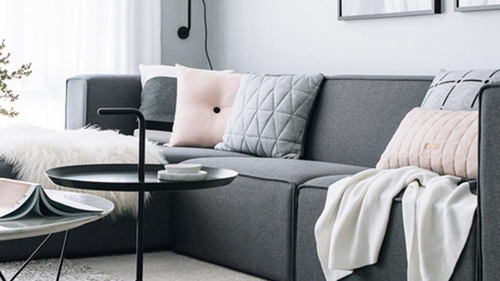 salon avec le gris et le blanc