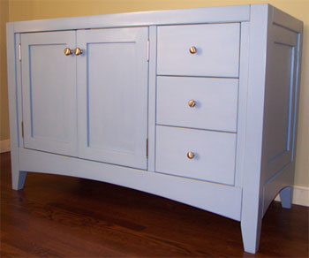 Shaker Style Bathroom Vanity With Heavy Legs And Arched Base Rails