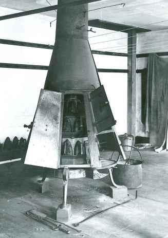 Photograph, Ironing Stove with Doors Open, Ironing Room, Church Family, Mount Lebanon, NY, William F. Winter, Photographer, ca. 1930. Shaker Museum | Mount Lebanon 1962.14115.1.