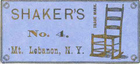 "Label, ""Shaker's Mt. Lebanon, N. Y., No. 4. Trade Mark,"" South Family, Mount Lebanon, NY, ca. 1875, Shaker Museum 