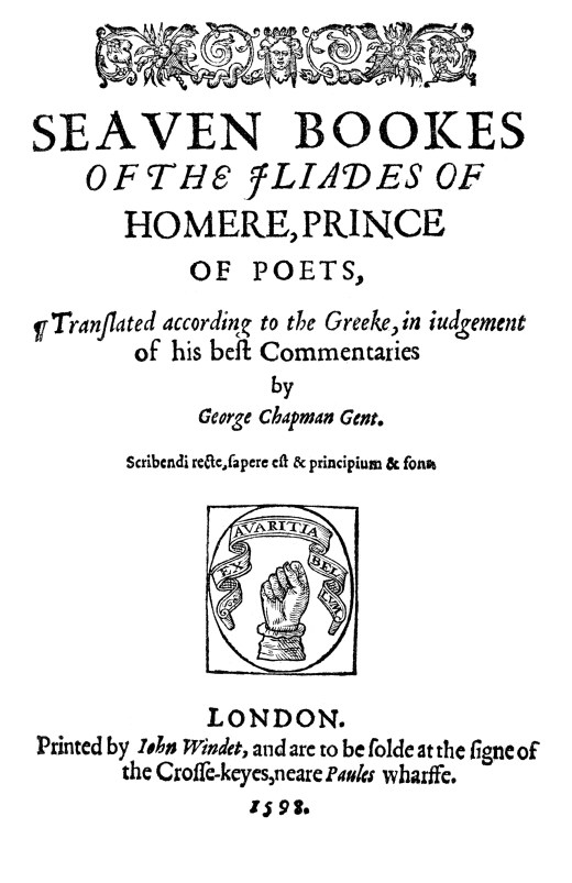 Title page of Homer's Iliad, translated by George Chapman (1592)
