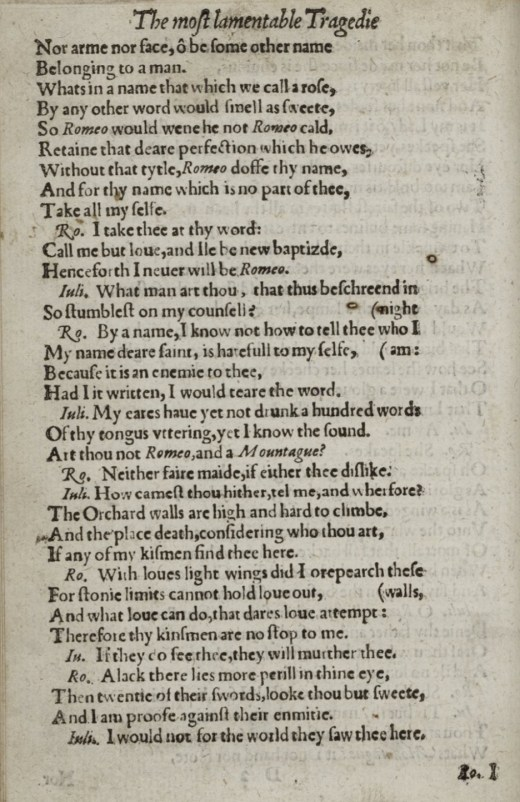 From the 1599 Second Quarto of Romeo and Juliet. From the Folger Shakespeare Library collection.