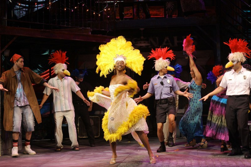 Roxi Victorian as Hero (center) with the cast of Folger Theatre's <em>Much Ado About Nothing</em>, a 2009 production inspired by the D.C. Caribbean Carnival. Photo by Carol Pratt.