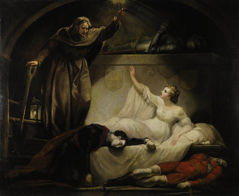 James Northcote. Romeo and Juliet, act V, scene III, Monument belonging to the Capulets: Romeo and Paris dead, Juliet and Friar Laurence. Oil on canvas, ca. 1790