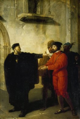 Richard Westall. Shylock Rebuffing Antonio. Oil on canvas, commissioned for the Boydell Shakespeare Gallery, 1795