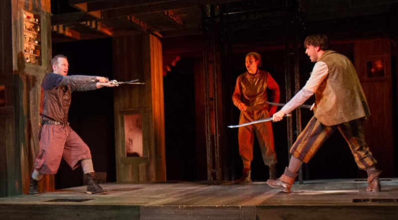 l-r: Rex Daugherty (Tybalt), Aaron Bliden (Benvolio), and Brad Koed (Mercutio) in Romeo and Juliet, directed by Aaron Posner, Folger Theatre (2013). Photo by Teresa Wood.