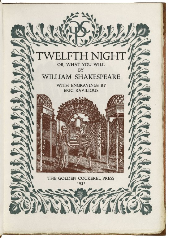 William Shakespeare. Twelfth night; or, What you will. With engravings by Eric Ravilious. 1932. Folger Shakespeare Library.