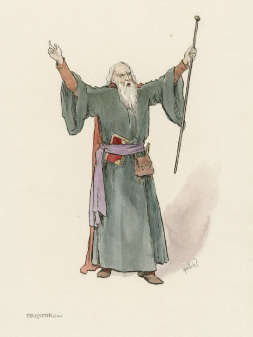 Costume sketch for Prospero from The Tempest. Folger Shakespeare Library.