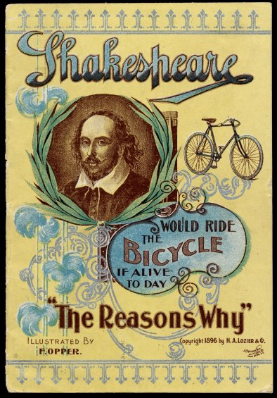 Frederick Burr Opper for Cleveland Bicycles. Shakespeare would ride the bicycle if alive today: the reasons why. Print, 1896. Folger Shakespeare Library.