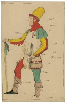 """Costume for Touchstone in """"As You Like It,"""" Claud Lovat Fraser. """"The second dress for Mr. Nigel Playfair in the role of Touchstone."""" Folger ART Box F848 no.1 (size L)."""