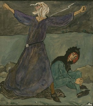 King Lear and the Fool, Act III, Scene 2. Watercolor drawing by Pamela Colman Smith. Folger Shakespeare Library.