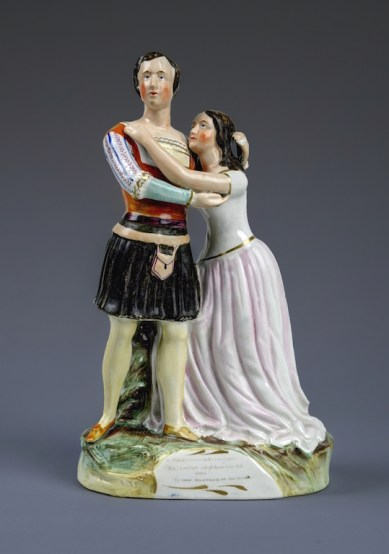 Thomas Parr. Charlotte and Susan Cushman as Romeo and Juliet. Staffordshire porcelain, ca. 1852. Folger Shakespeare Library.