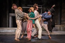 Eric Schabla, Bobby Bowman, Kelsey Brennan, Christopher Sheard, Ninos Baba and James Ridge, The Comedy of Errors, 2016. American Players Theatre. Photo by Liz Lauren.