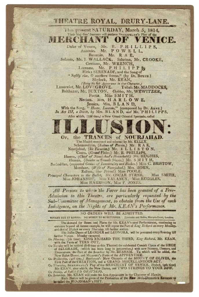 Playbill for Merchant of Venice. Drury Lane Theatre, 5 March 1814. Folger Shakespeare Library.
