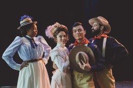 (L) Demetria Thomas as Beatrice, (center) Susie Parr as Hero and David Huynh as Claudio and (R) Patrick Poole as Benedick in Houston Shakespeare Festival's Much Ado About Nothing. Photo courtesy of the University of Houston.