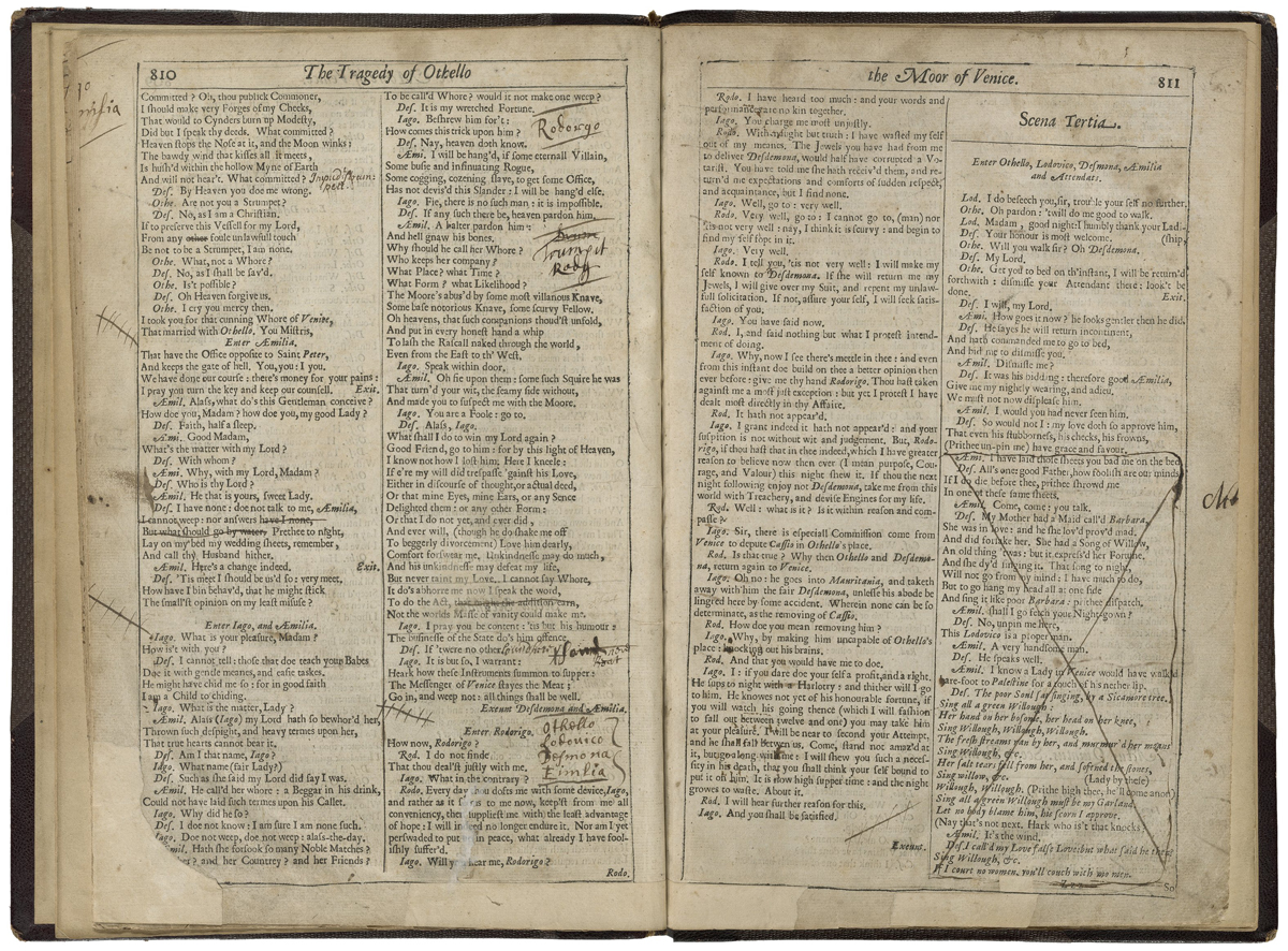 Promptbook for a production of 'Othello' from the 1670s.