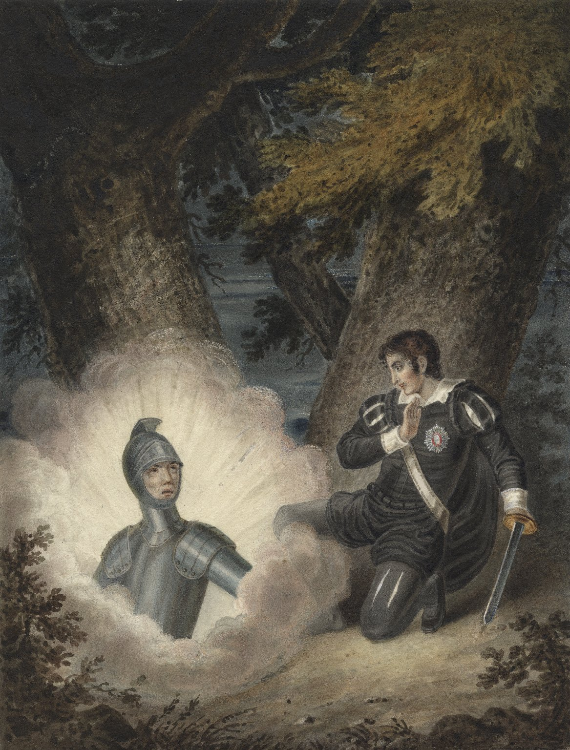 Hamlet and ghost. J. Coghlan. [early 19th century?]. Folger Shakespeare Library.