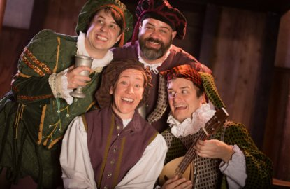 Adam King, Vinnie Mascola, Sean Kelley, Mary Ruth Ralston. Atlanta Shakespeare Company, Twelfth Night, 2017.