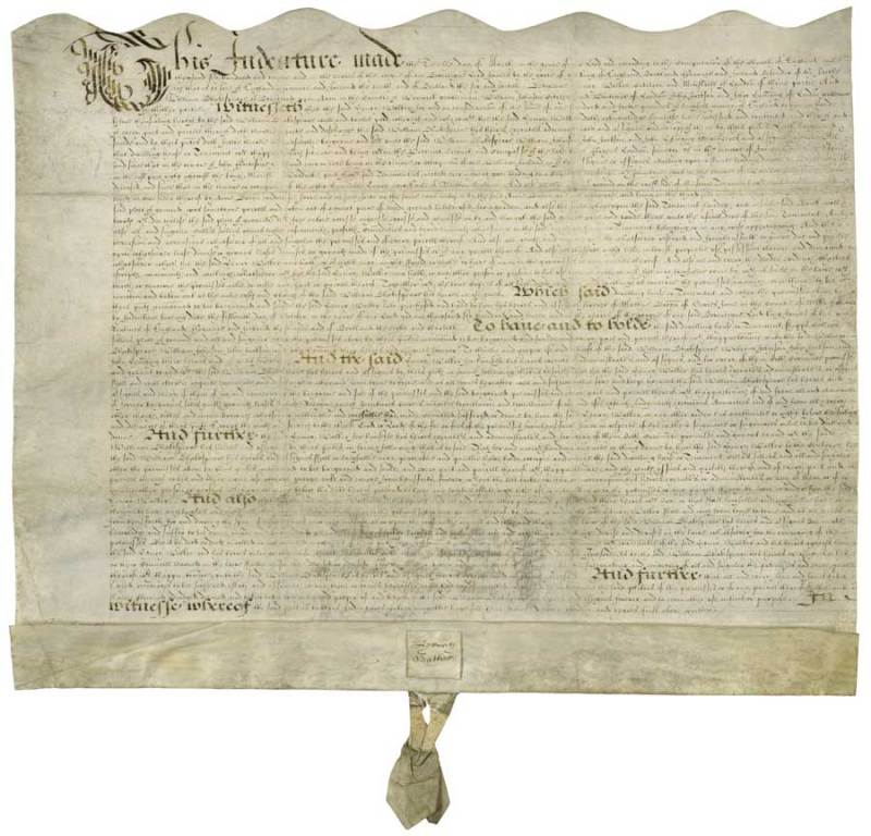 The copy of bargain and sale signed by the vendor when Shakespeare purchased the Blackfriars Gatehouse in London in 1613