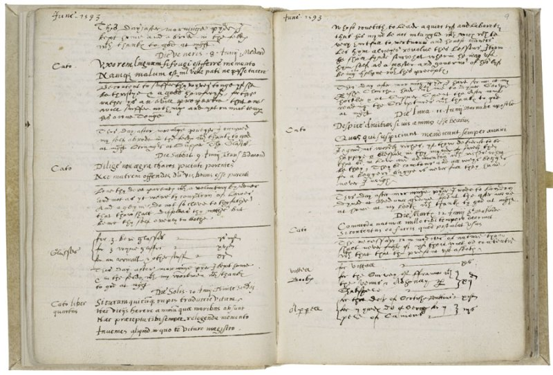 A 1593 diary entry by Richard Stonley that shows the earliest purchase of Shakespeare's first work to appear in print, Venus and Adonis
