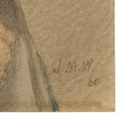 Initials J.M.W. and the number 60 written in the bottom corner of most of the portraits in this set.