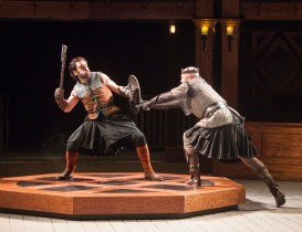 "Macbeth and Macduff do battle in the Idaho Shakespeare Festival's ""Macbeth."""