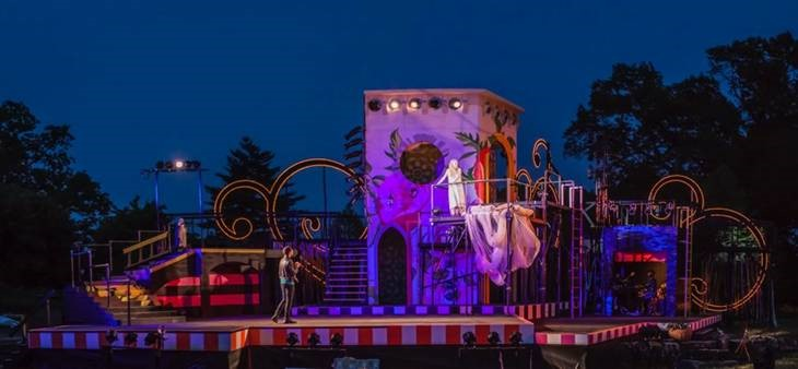"Scenic design by Peter and Margery Spack for the Shakespeare Festival of St. Louis's ""Romeo and Juliet"" at Shakespeare Glen in Forest Park."