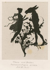 IMAGE: A silhouette image of Titania, the fairy queen, and Bottom, who has a giant donkey's head