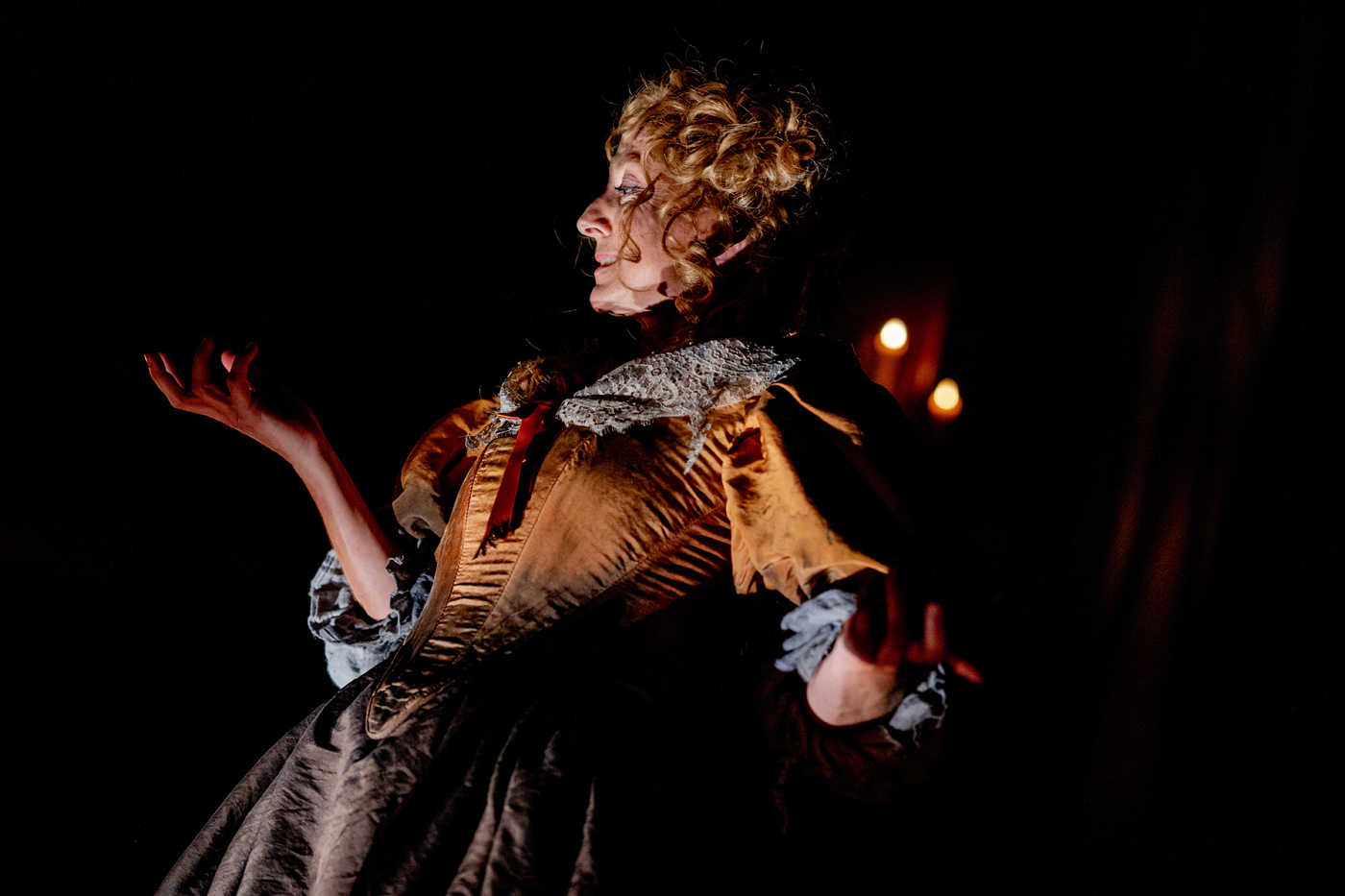 "Actress Kate Eastwood Norris as Lady Macbeth in Folger Theatre's ""Macbeth."""